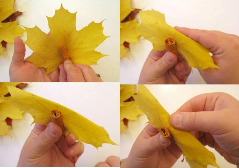 Цветы из листьев клена своими руками 85